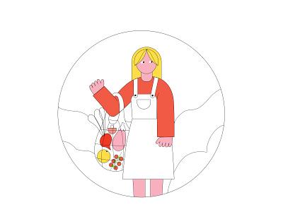 in a supermarket zero waste eco minimalistic art bag vegetables supermarket illustrator girl bold colors illustration minimalism vector graphic design design