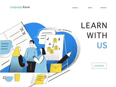 A Language School sketch people illustration caracter design app illustration website illustration learning app language school language illustrator illustration minimalism vector design