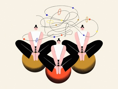 Obsessive thoughts flat illustration blog post yoga pose character design girl character illustrator illustration minimalism vector design