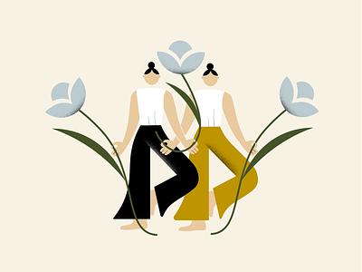 yoga girls yoga studio magazine illustration blog design flat illustration bold colors illustrator minimalism illustration vector