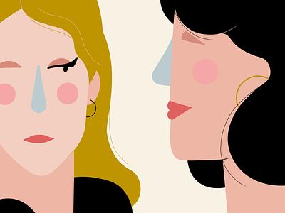 "A poster ""Girls"" flat illustration magazine illustration blog post minimalism bold colors girl illustration vector"