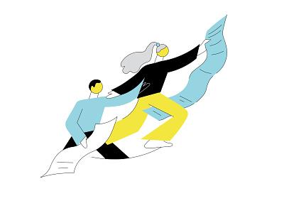 hurry up! magazine illustration blog post news woman illustration man flat illustration illustrator illustration bold colors minimalism vector