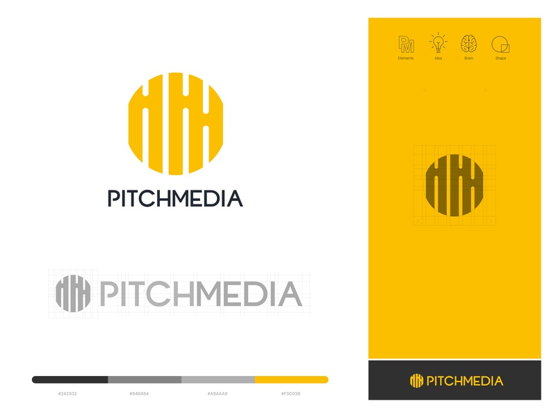 Pitch Media Brand Identity Design identity website brand icons flat minimal illustrator icon lettering typography vector logo illustration design branding storytelling creative agency agency branding media logo pitchmedia