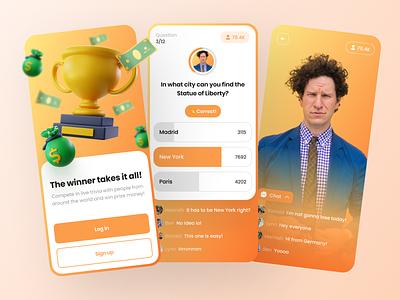 Live Trivia App ui design ui game show 3d mobile app app design quiz app trivia app live trivia live quiz trivia