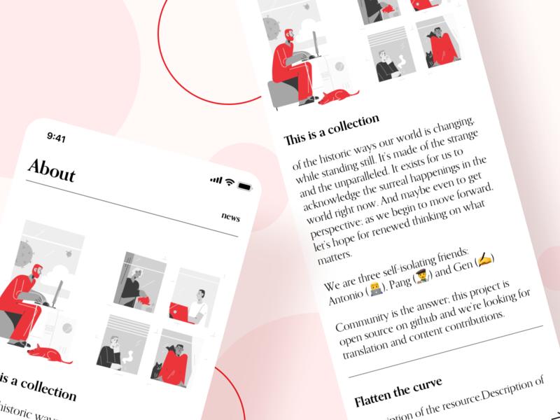 Omg Covid red black  white white mobile newspaper news responsive mobile web craftwork illustration design ux ui