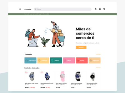 E commerce Landing page sales products categories landing page ui illustration craftwork colorful landing ecommerce