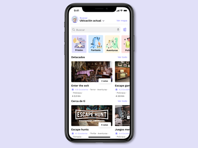 Look for escape rooms APP #Fixthatcrapp September challenge mobile app home iphonex mobile redesign near you escape room user search list craftwork creative illustrations desing fix design colorful ui