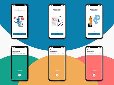 Covid List mobie color language capacity scan on boarding mobile app ux ui craftwork illustration animation design colorful