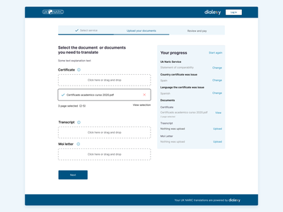 Upload your documents ui user experience acessibility upload documents progress documents upload user flow