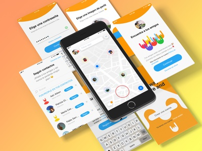 onboarding Screens password find screens maps friends log in onboarding colorful design ux ui