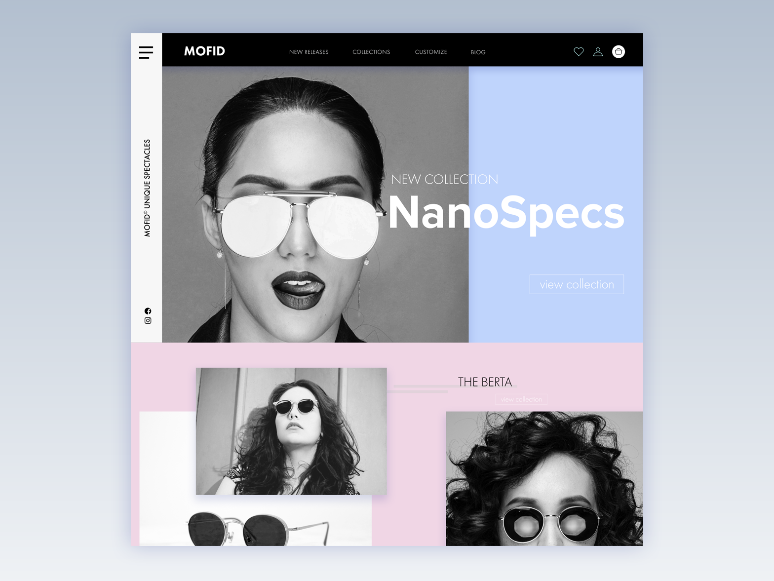MOFID: Sunglasses Made with Nanotechnology web design typography landing page ux ecommerce ui web design