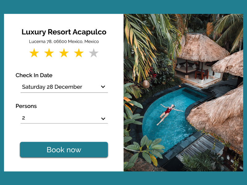 Luxury Resort Acapulco acapulco pool laptops resort booking form igordvlpr prototype ui design