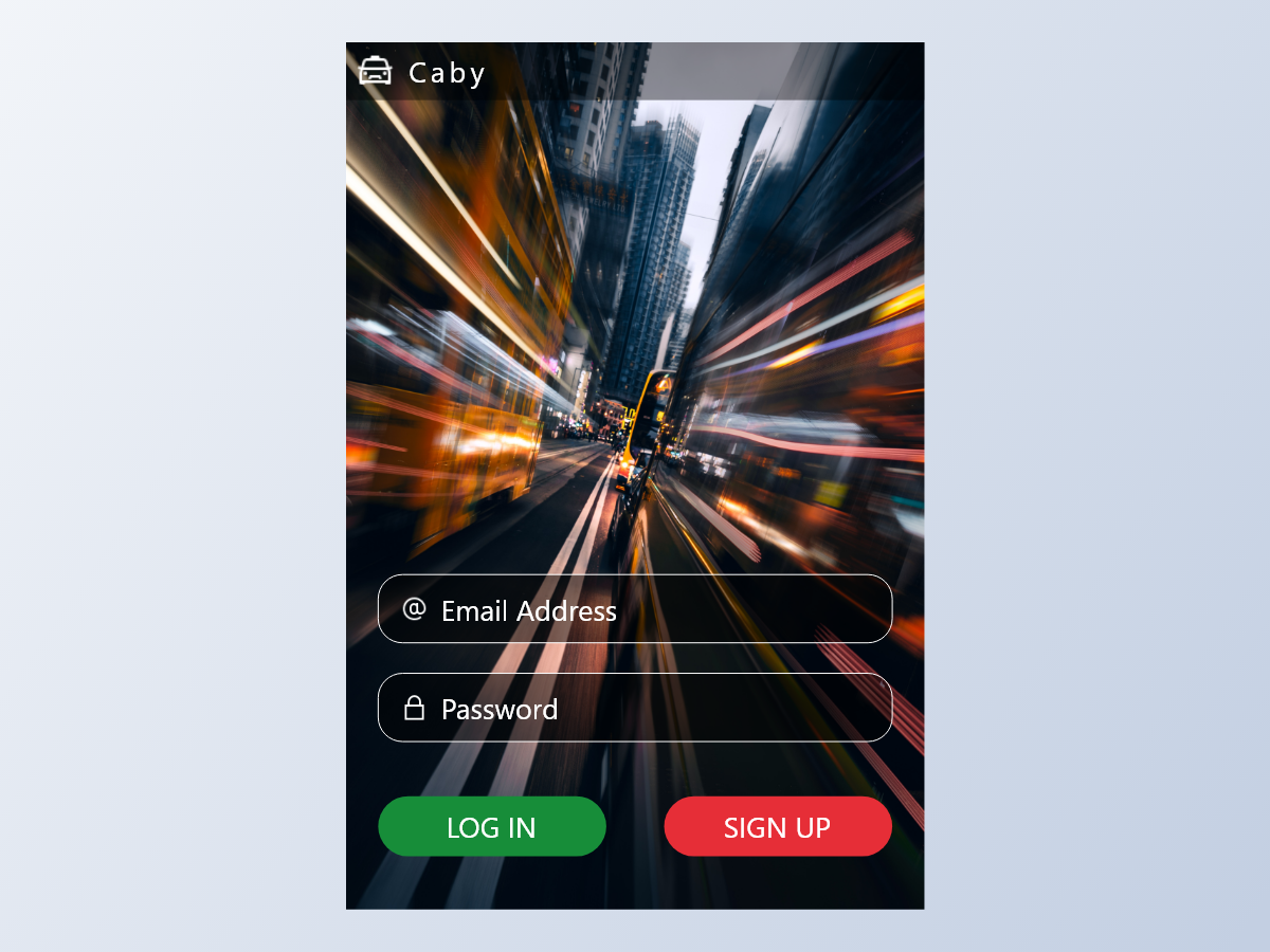 Caby Login Screen user cellphone mobile login caby