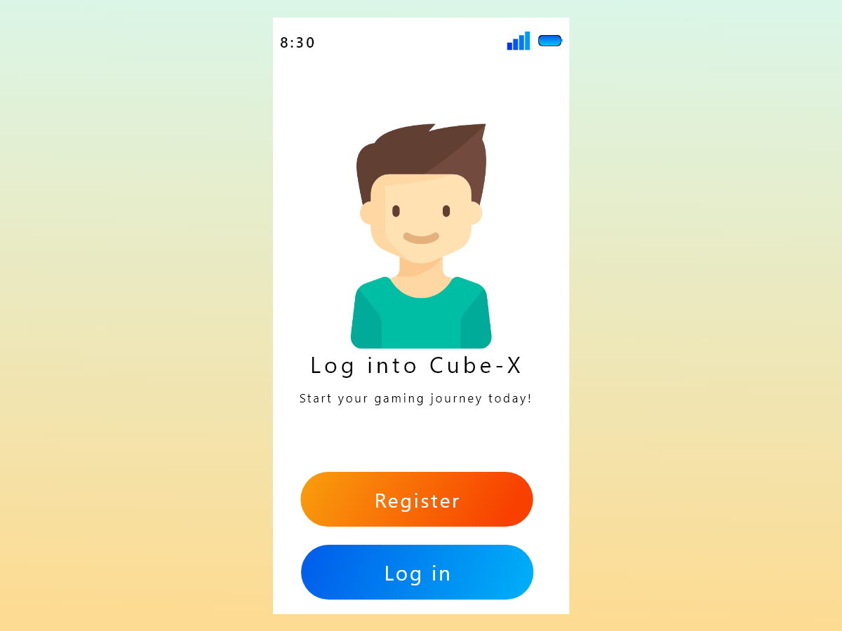 Cube-X Login Screen ui platform game cubex login