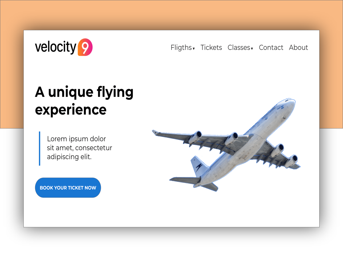 Velocity9 simple site website igordvlpr design flights airplane velocity9