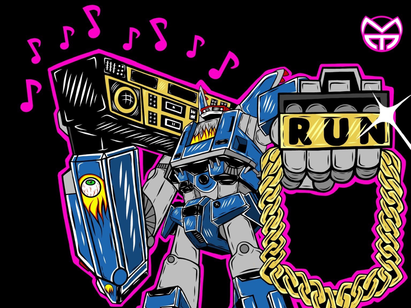 Megas XLR X Run The Jewels mech vintage run the jewels hip hop robot logo digital art vector illustrator illustration