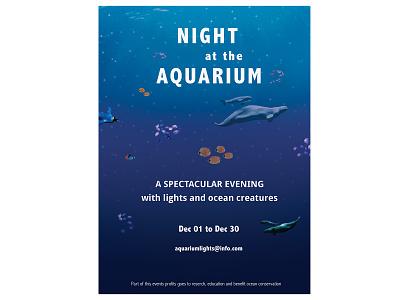 Night at the Aquarium poster aquarium poster ocean