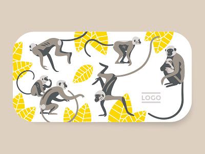 Monkeys illustration minimalist illustration yellow brown monkeys