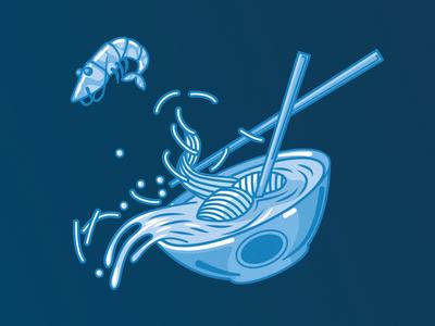 the flying shrimp illustration blue shrimp chines soup noodle