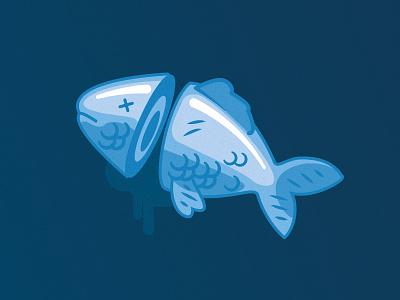 Dead fish cut head blue dead fish