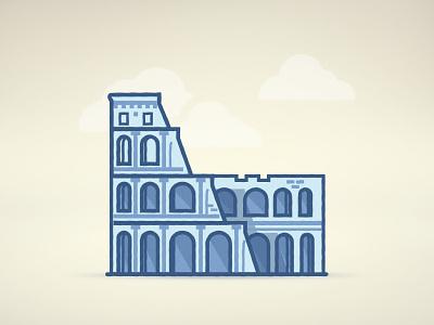 Colosseum vector line blue italy rome colosseum