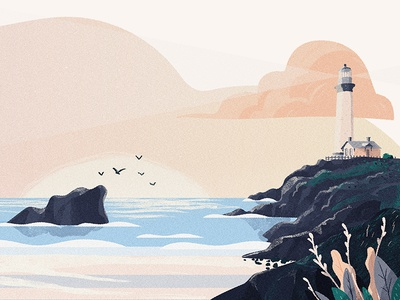 Landscape lighthouse sea phare sunset landscape