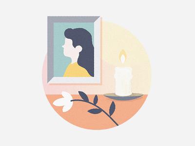 Tribute page illustration tribute portrait candle