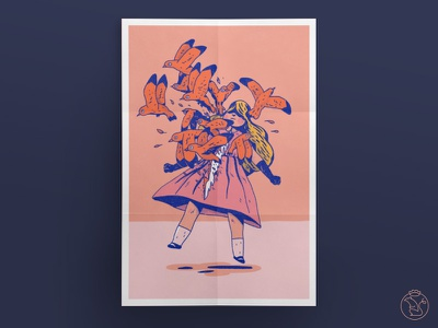 Tearing rattenkonig poster blue orange tearing girl birds