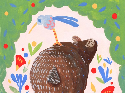 Bear Bum illustrator storytelling whimsical colorful traditional art childrens illustration illustration art illustration