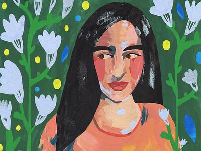 Green artwork plant illustration women in illustration traditional art colorful illustration
