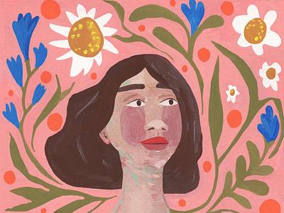 Woman with Plants illustration art illustrator plants woman illustration whimsical traditional art colorful illustration