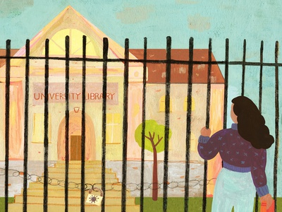 University women in illustration illustrator editorial design editorial illustration colorful traditional art illustration