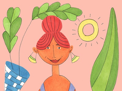 Sunlight character design whimsical woman illustration illustration art plant illustration women in illustration copicmarkers traditional art colorful illustration