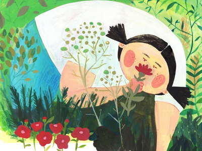 Smell the Flowers plant illustration women in illustration whimsical gouache illustration art illustration colorful traditional art childrens illustration