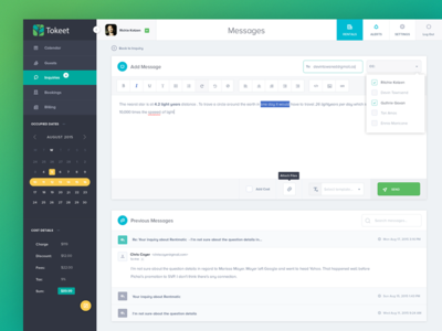 Vacation Rental Management App (wysiwyg email editor) editor email wysiwyg desktop dashboard flat user interface ui interface app color web