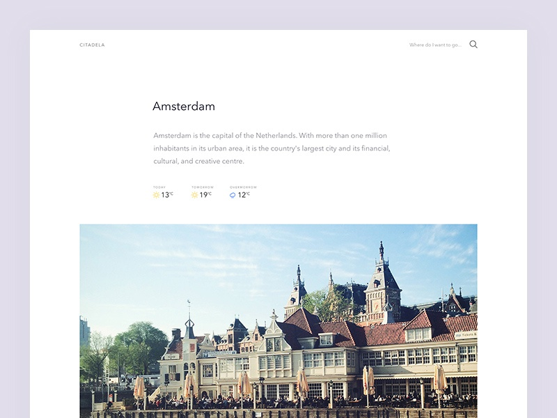 Citadela—city guides city guide website light minimal travel