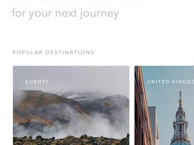 Citadela – countries principle travel mobile website gif cards animation transition