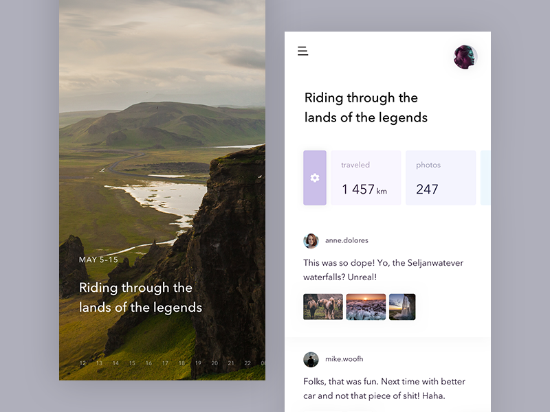 Wander — diary app timeline trip card image iphone x journal diary travel