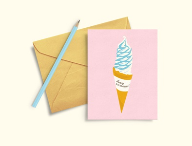 Greeting Card summer pink postcard food cafe pastel icecream illustration design vector graphic