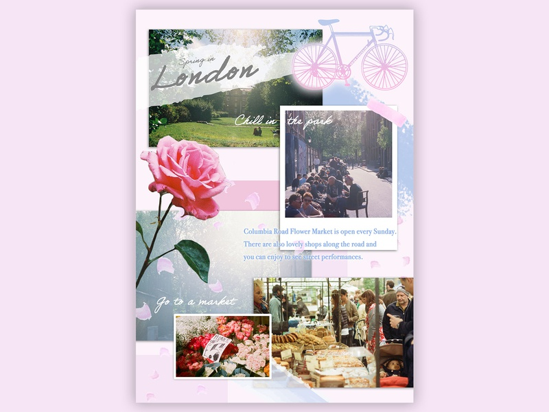 Photo collage for Spring in London pastel travel stayhome design graphic food market spring flower picnic park london photo collage film photography