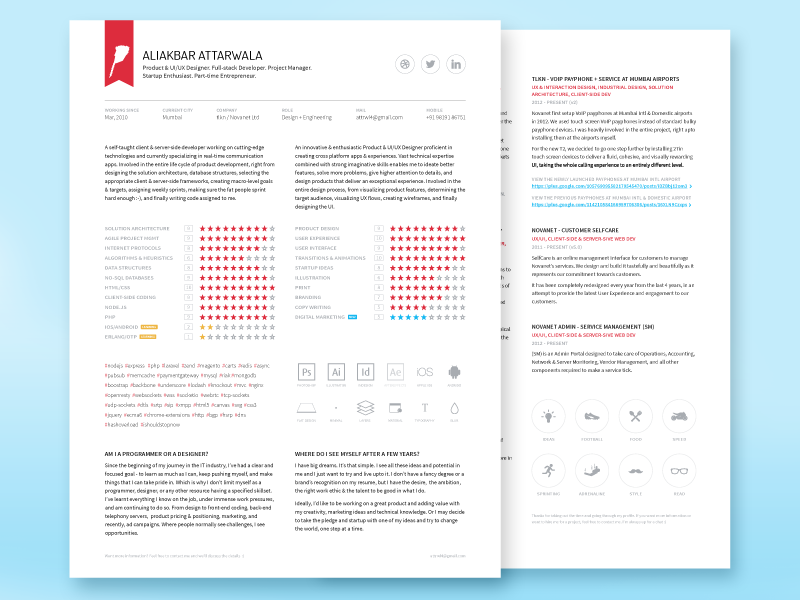 cv resume portfolio freebie by ali attarwala dribbble