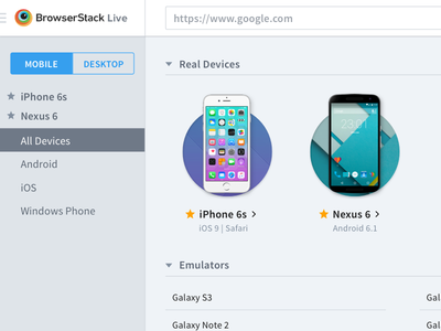 Design Concept - *Real Device* Listing dashboard layout admin sidebar search nav ui listing mobile real browerstack