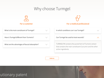 FAQ layout for a consumer healthcare product - WIP ui flat faq