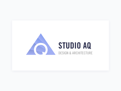 Logo - Studio AQ purple gradient depth minimal branding pyramid layers architect home logo