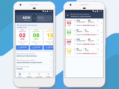 Mumbai Local Train Listing App ux sketch principle ui modern material app mobile dashboard listing train mumbai