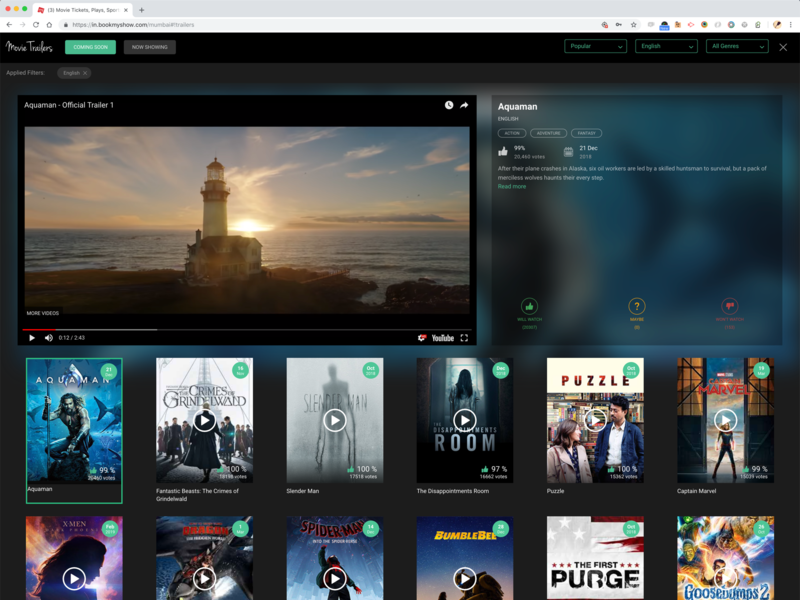 Movie Trailers on BookMyShow blur ui movie