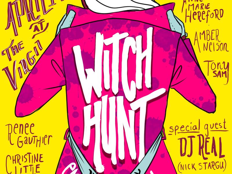 Witch Hunt LA April '19 color comedy branding handlettering poster art poster typography marketing flier illustration design art