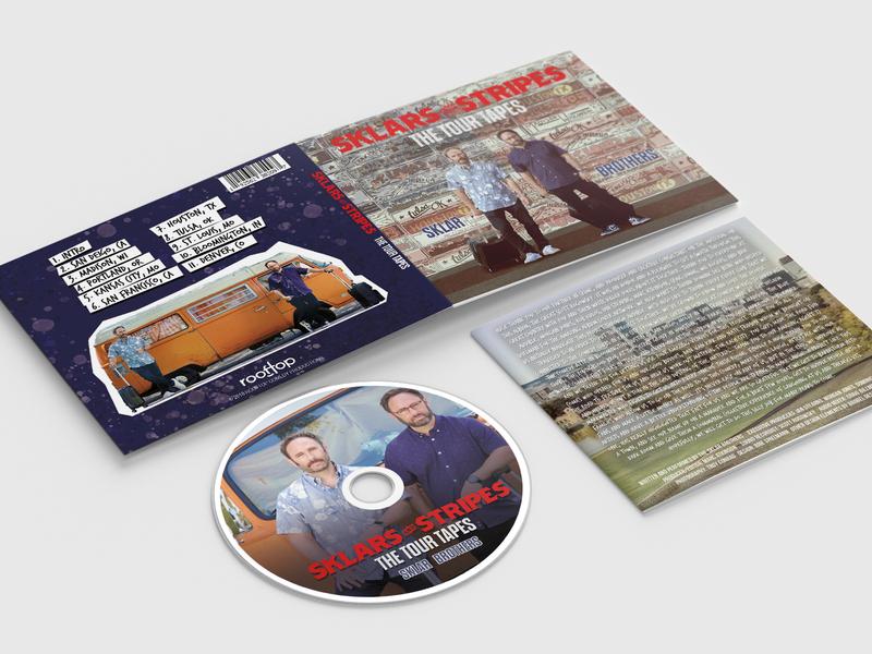 Sklar Brothers | Tour Tapes album art print production product branding typography marketing art illustration graphic design design record comedy recording cd album