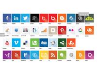 Flat Social Media Icons with Long Shadows