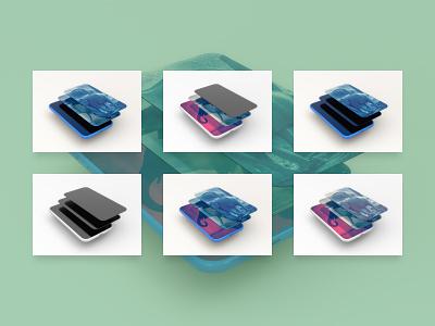Smartphone multiscreen perspective PSD Mockup psd mockup psd 3d design perspective